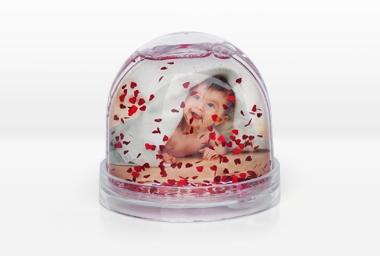 Fotokugel mit Herzflocken