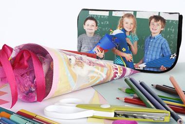 Schultüte gefüllt mit Fotogeschenken