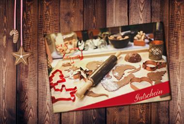 Weihnachten - Schneidebrett mit Gutschein bedruckt